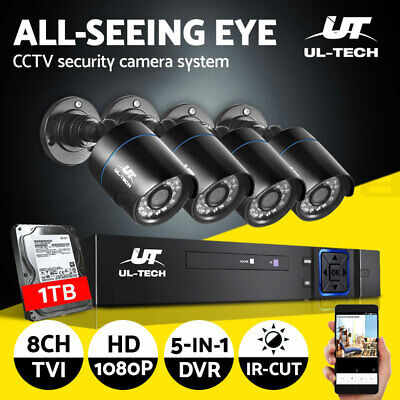 UL-tech CCTV Camera Security System 8CH DVR 1080P 2MP HD with 1TB Hard Drive