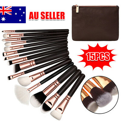 15PCS Makeup Brush Set Cosmetic Foundation Complete Eye Kit Powder Rose Golden
