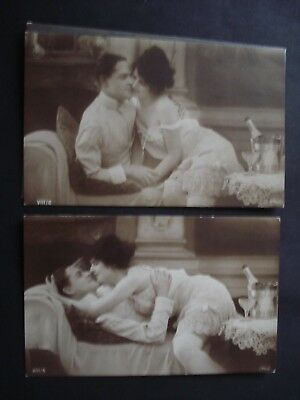 Lot 2 Cartes Photos Couple Semi Nue Erotisme