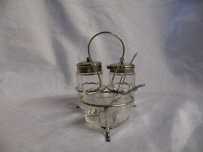 Vintage Glass And Silver Plated Cruet Set