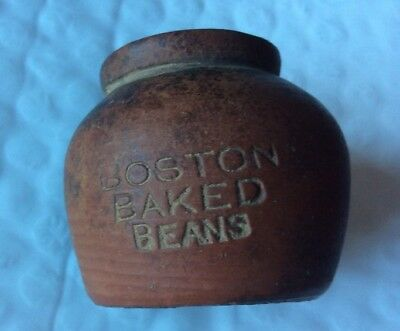 Antique Redware Miniature c.1900 Boston Baked Bean  Penny Candy Pots
