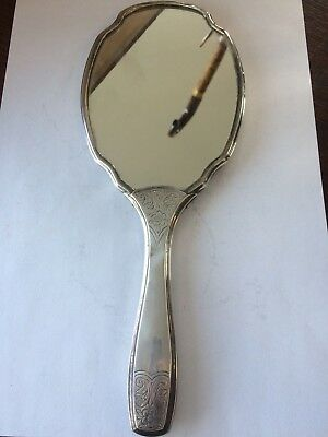 Antique Continental Silver Backed Mirror.