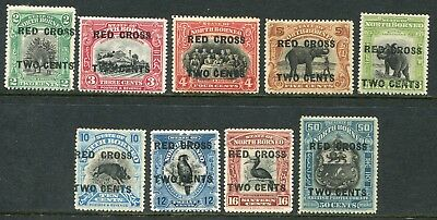 North Borneo 1918 Red Cross x9 values to 50c SG 215<>230 hinged mint (cat. £91+)