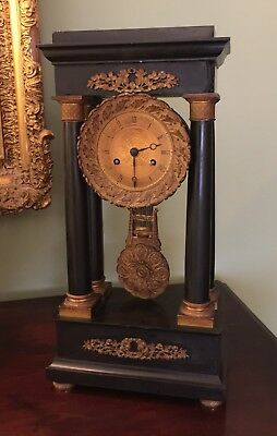 Antique French Empire Black Marble Portico Column Clock Needs Work