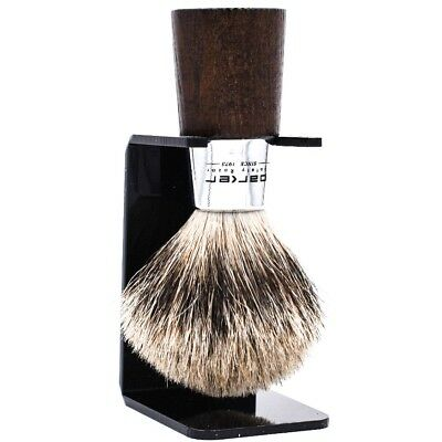 Deluxe Parker Walnut & Chrome Handle Handmade Pure Badger Shave Brush & Stand