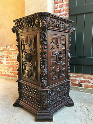 Antique French Carved Oak Renaissance CORNER CABINET Bronze Display Stand Gothic
