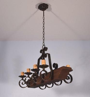 *Vintage French Wrought Iron & Oak Castle Chandelier Hanging Lamp