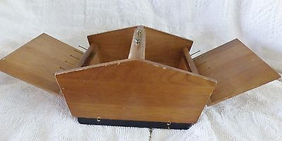 Vintage Wooden Sewing Box With Double Lid And Carrying Handle