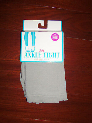 Nwt Justice Gray Nylon Stretch Ankle Tights:  Size S (7/8)