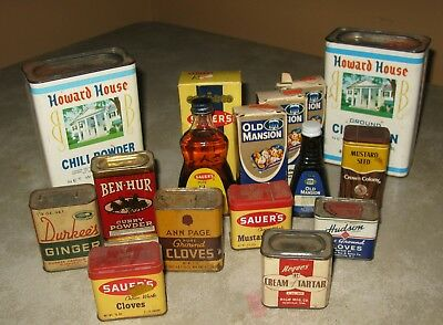 Odd Lot of Vintage Spices Extracts Tins Bottles as Found at Estate Sale 14 Total