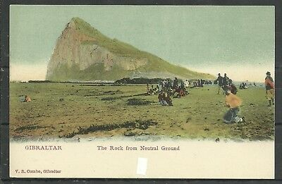 Postcard :  Gibraltar The Rock viewed fr Neutral Ground undivided back pub Cumbo
