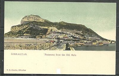 Postcard :  Gibraltar Panorama from the Old Mole undivided back pub Cumbo