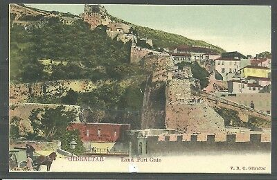 Postcard :  Gibraltar view of Land Port Gate undivided back pub Cumbo
