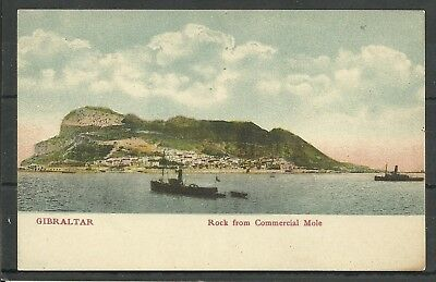 Postcard :  Gibraltar Rock from Commercial Mole undivided back pub Cumbo