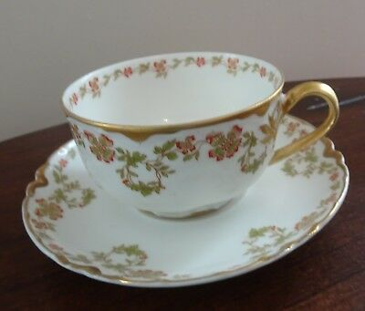 Antique Haviland & Co. Limoges Tea Cup and Saucer Red Flowers with Lots of Gold