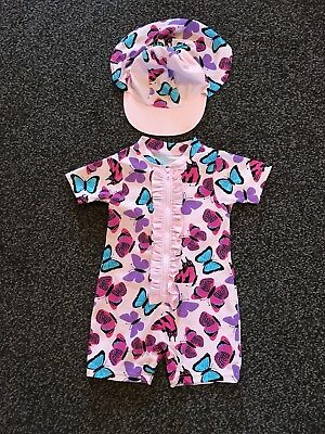 Baby Girls Swimsuit With Matching Hat Age 9-12 Months