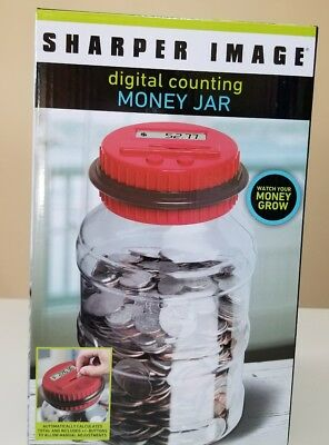 The Sharper Image Electronic Digital Coin Counting Money Jar - Piggy Savings