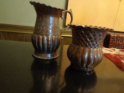 Antique Egyptian Tinned Copper Pitcher Signed Egypt