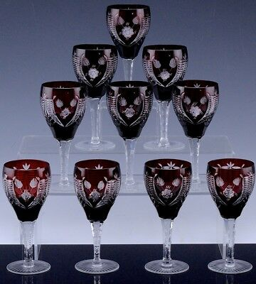 Exceptional Quality Set 10 Bohemian Red Cut To Clear White Wine Glasses Goblets