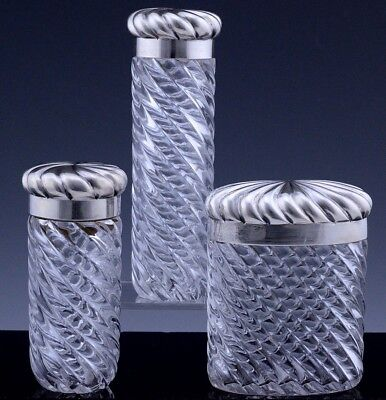 Set 3 Victorian 1885 Sterling Silver Baccarat Swirl Design Cut Glass Vanity Jars