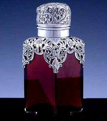 Stunning 1896 Victorian Sterling Silver & Cranberry Glass Perfume Cologne Bottle