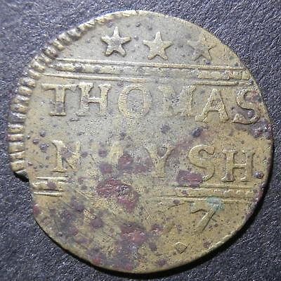 17th century halfpenny token - Sussex Ticehurst 1667 Thomas Naysh - D.175