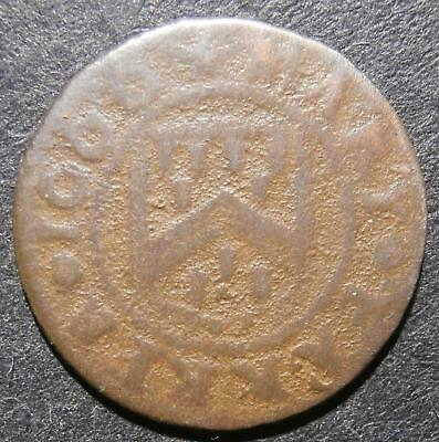 17th century farthing token - Yorkshire Hatfield 1666 Mary Farrer - D.118