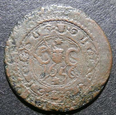 17th century halfpenny token - Ireland Cork city 1656 ship between castles D.202
