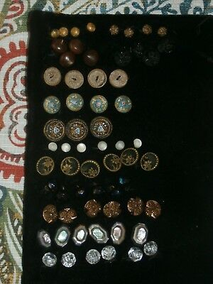 Mixed Group Lot Antique Buttons Enamelled Black Glass Jet Pearl Shell Abalone