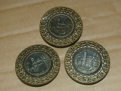 Set 3 Antique Brass Buttons Carved Etched House Building Church
