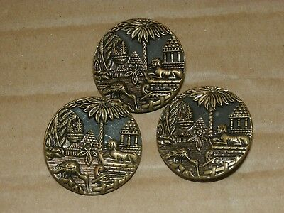 Set 3 Antique Brass Picture Buttons Egypt Egyptian Sphinx