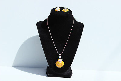 Hawaiian Sunrise Shell 14KGF Rose Gold Filled Necklace Earring set