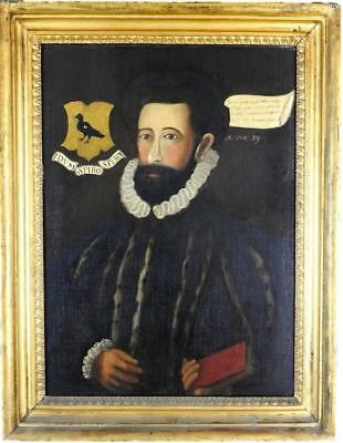 Antique English Oil - Portrait Of Tudor Gentleman With Family Coat Of Arms