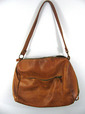 Vintage Natural Leather Brown Large Bag Purse Heavy Duty Thick Leather D5