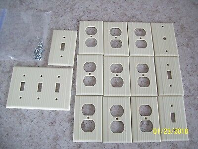 lot of 14 triple Vintage Leviton Ribbed  Switch Plate Cover IVORY Bakelite Deco
