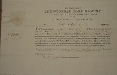 1809, Christopher Gore, Patriot, Governor of Mass., signed military appointment