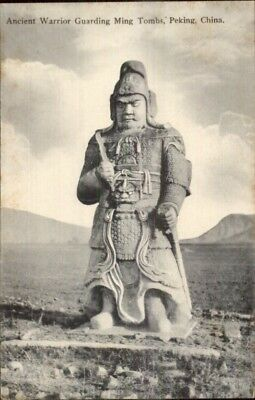 Beijing Peking China Ancient Warrior Ming Tombs c1910 Postcard EXC COND chn