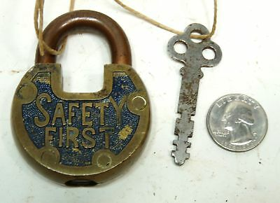 Antique Vintage Brass Safety First Lock Padlock and Key Made USA #28