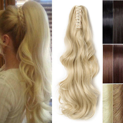 AU Clip In Pony Tail Hair Extensions Claw Clip On Ponytail Hairpiece Brown Blond