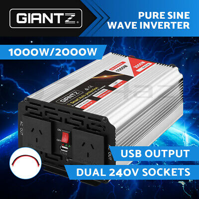 Giantz Power Inverter Pure Sine Wave 1000W/2000W Camping Boat Caravan 12V-240V