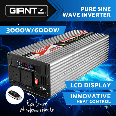 【NOW$256】Power Inverter Pure Sine Wave 12V-240V 3000W/6000W Car Camping DC to AC