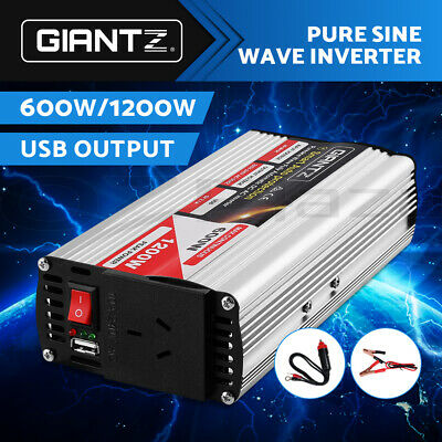 Giantz 600W/1200W Pure Sine Wave Power Inverter 12V-240V Camping Boat Caravan