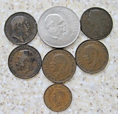 Lot Old British Coins (7) 1893 1902 1920 1935 1943 1965