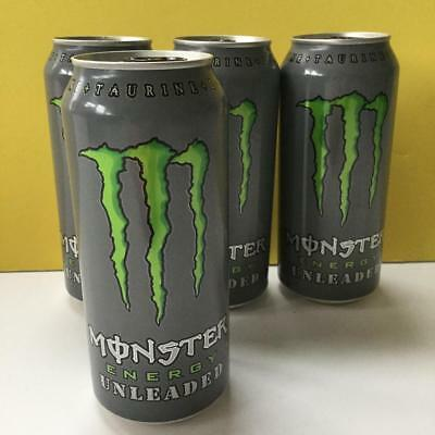 Lot 4 RARE Monster Beverage Energy UNLEADED Drink Unopended 16 oz FULL Cans