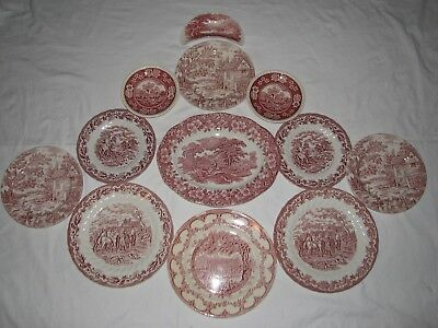 12  red transferware COLLECTION starter instant WALL DISPLAY toile plates
