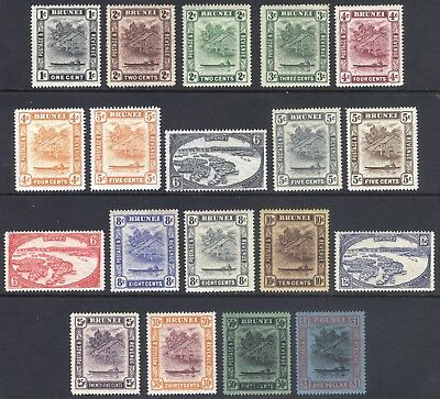 Brunei 1924 1c-$1 River View Wmk Script SG 60-78 Sc 43-58 LMM/MLH Cat £200($282)