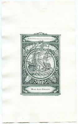 Dorothy Payne 1943 1st Bookplate Engraving Etching Ex Libris Mary Alice Ercolini
