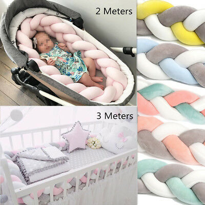 2/3Meters Infant Baby Plush Bumper Bed Bedding Crib Braid Cushion Protector