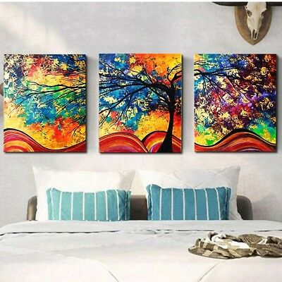 3Pcs Large Tree Canvas Abstract Painting Print Picture Art Wall Decor Unframed