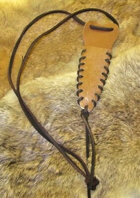 Handcrafted Mountain Man Rendezvous Brown Leather w/Cowhide Neck Knife Sheath